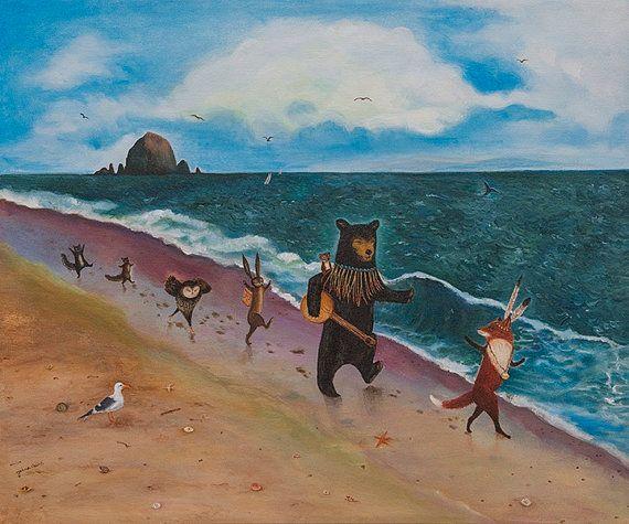 Beach Day the sea beach art ocean Forest by JahnaVashti on Etsy, $20.00