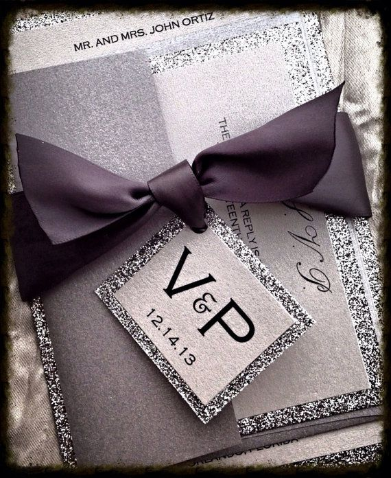 Silver Glitter Wedding Invitation And RSVP Set Ribbon Monogram