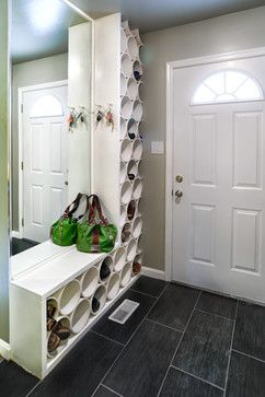 PVC pipe repurposed into shoe organization.  Easy to wipe clean as opposed to traditional cloth hanging shoe organizers! The only thing I don't like are the nooks between the circles that will sit and collect dust...