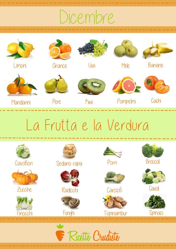 Frutta e verdura del mese di Dicembre.  #crudismo #ricettecrudiste #cibocrudo #fruttaDiStagione #verduraDiStagione #rawfood #raw