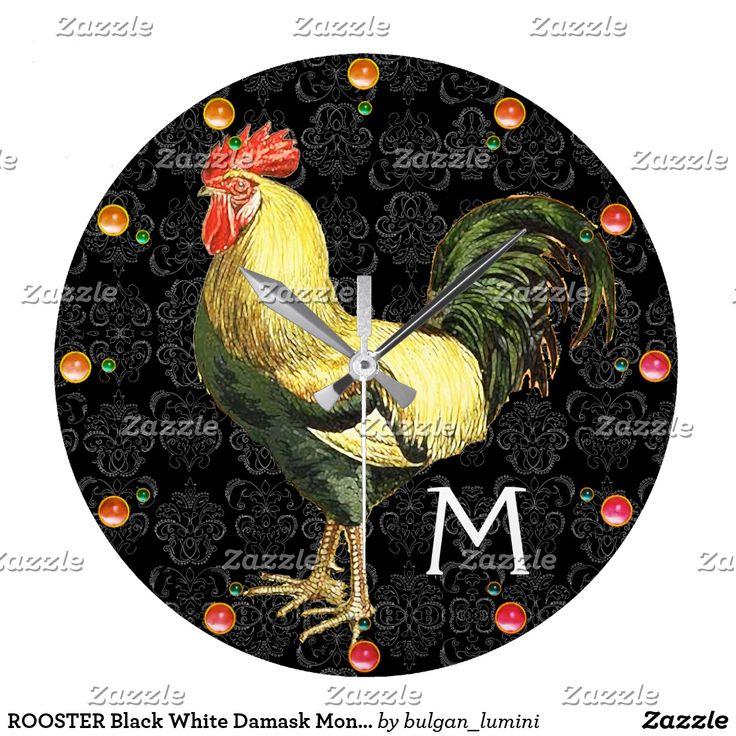 ROOSTER Black White Damask Monogram Large Clock  #homedecor #roosters #farm #animalfarm #rustic #animals #birds
