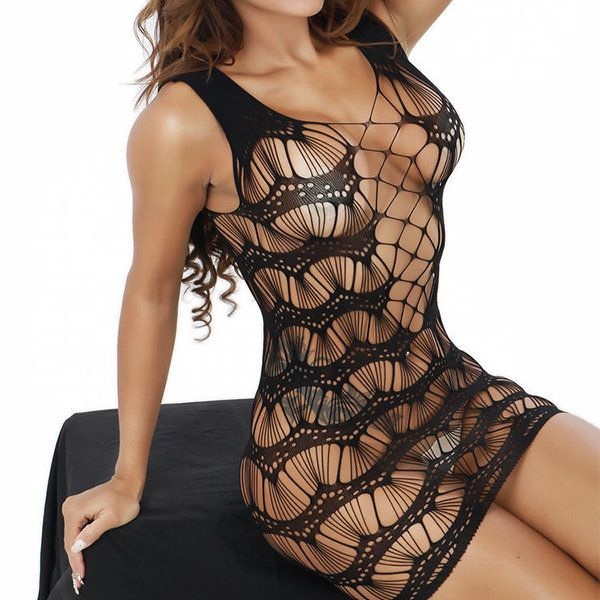 Sexy Exposed Breast See Through Black Silk Temperament Net Packet Hip Bodystocking