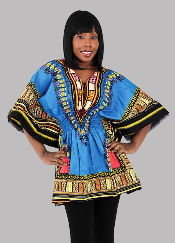 Traditional African Women's Dashiki with a Form Fitting Waist - Bold African colors and patterns on a beautiful African dashiki shirt.  Each shirt is adorned with the traditional patterns from African fashion.  The waist has an elastic band, so the dashiki is form fitting to show off your natural curves.  Celebrate your love of African history and fashion with this beautiful African dashiki.  #africa #african #africanfashion #womensfashion #dashiki #pattern #travel #africanpattern #neon…