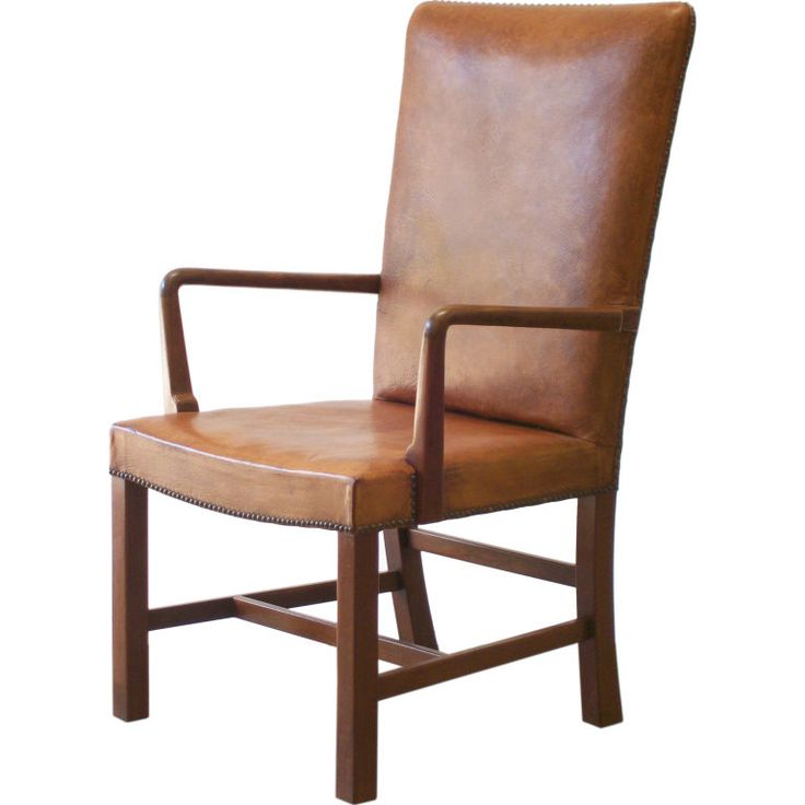 Danish High Back Leather Arm Chair Furniture Home Goods Pintere