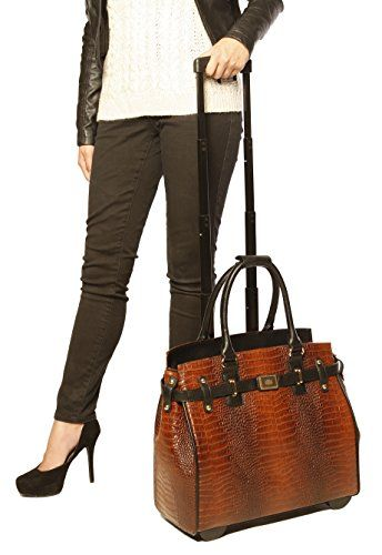 JKM & COMPANY USA Brown & Black Alligator iPad, Tablet or Laptop Computer Rolling Tote Carryall Bag - http://www.newofficestore.com/jkm-company-usa-brown-black-alligator-ipad-tablet-or-laptop-computer-rolling-tote-carryall-bag/