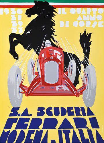 Scuderia Ferrari poster celebrating some of the team's Grand Prix victories