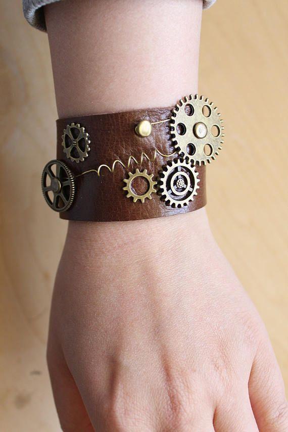 Handmade real leather unisex length adjustable steampunk bracelet in dark brown with bronze gears