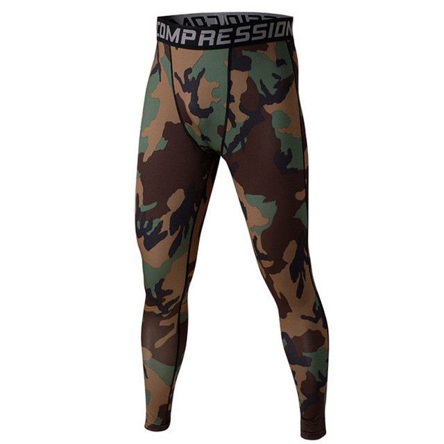 Men's Sport Running Pants Camo Print Slim Compression Leggings Base Layer Long Trousers