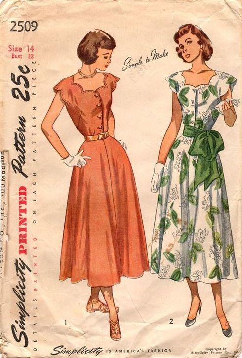 "Simplicity 2509. 1948 One-Piece Dress. Bust 32"". Original. Complete."