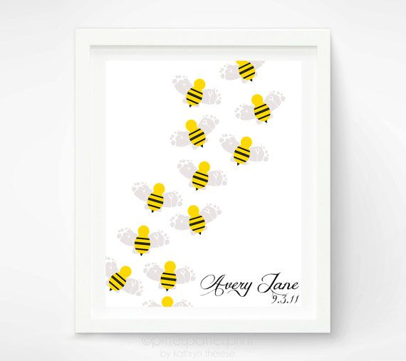 Bumble Bee Baby Footprint Nursery Art Print By PitterPatterPrint 3200
