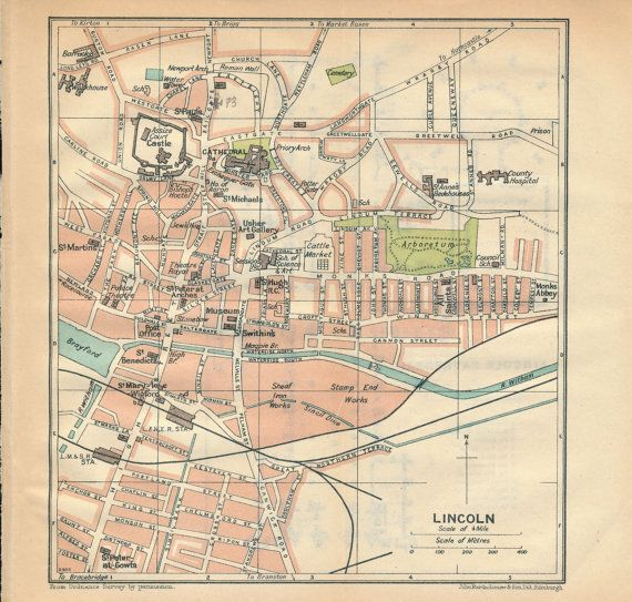 1930 Lincoln United Kingdom Great Britain Antique map by Figure10