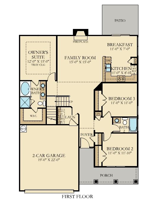 Richmond floor plan from @lennarcharnc - This 3 bedroom, 2 bath ranch opens up to a grand family room with vaulted ceilings and comes complete with hardwood flooring and granite countertops.
