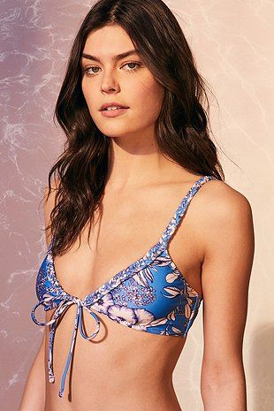 Minkpink Aquabomb Floral Tie-Front Triangle Bikini Top - Urban Outfitters