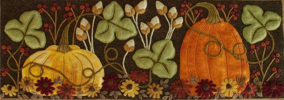 """Alfombra de lana apliques patrón calabazas """"La ahora esquina del jardín"""" otoño otoño penny alfombra tabla corredor del colgante de pared enganchar la lana de fieltro lana"""