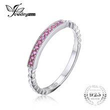 Jewelrypalace 925 plata esterlina creado zafiro rosa cuerda band anillos apilables pavimenta el ajuste 11 zafiro rosa anillo de la joyería 925(China (Mainland))