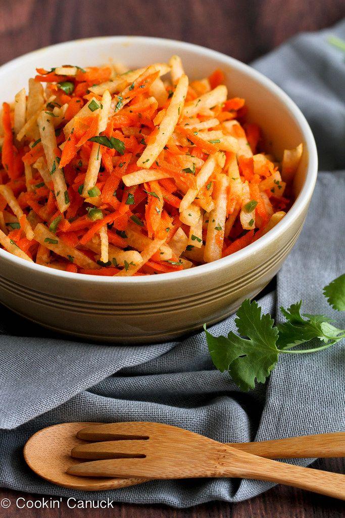 Jicama & Carrot Slaw Recipe with Honey-Lime Dressing   cookncanuck.com #vegan #vegetarian #recipe
