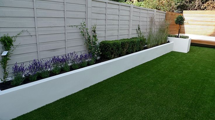 Easy Lawn Grass Raised Beds Modern Painted Fence Small Garden Design  Simple Modern Garden
