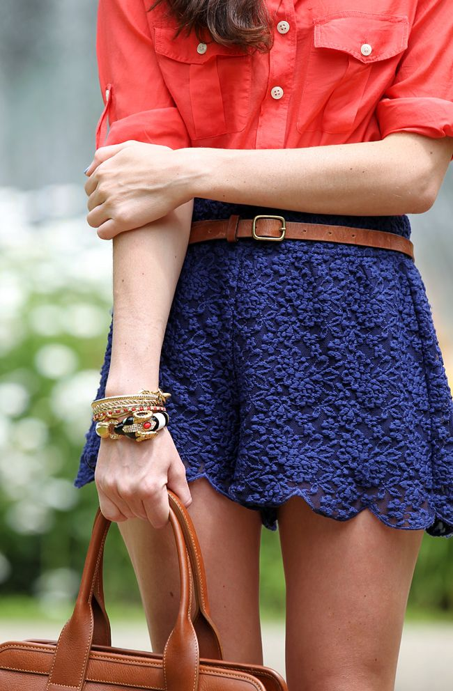 : Colors Combos, Summer Looks, Style, Poppies Red, Navy Lace, Blue Lace, Lace Shorts, Wear, Lace Skirts