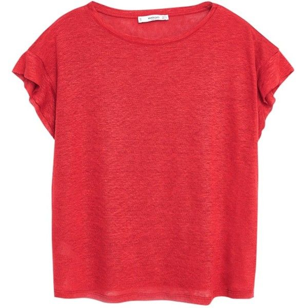 Mango Linen T-Shirt, Red ($24) ❤ liked on Polyvore featuring tops, t-shirts, linen tops, linen t shirt, short sleeve t shirts, jersey tee and jersey t shirt