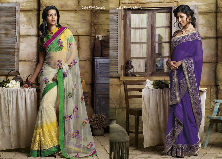 This net saree in white & yellow color with fantastic work look pretty with its blouse piece AND Stupendous purple chiffon saree is looking beautiful with golden color embroidery work on border