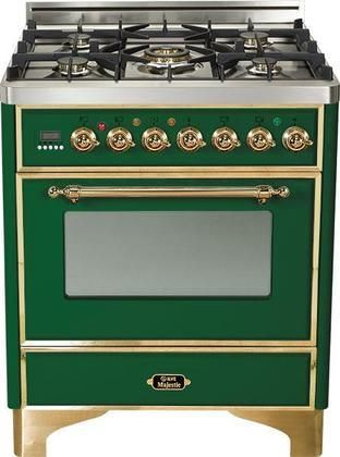 """UM-76-DMP-VS 30"""" Majestic Series Freestanding Dual Fuel Range with 5 Sealed Burners 3.0 cu. ft. Primary Oven Capacity Convection Oven Warming Drawer Brass Trim in Emerald Green"""