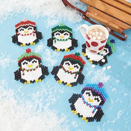 Penguin Parade Coasters Beading Kit - Herrschners #winter