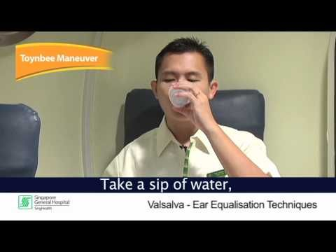 Learn 4 ear equalization techniques, to help you relieve blocking sensations in your ears caused for example during take-off or landing in planes.  The techniques are the Valsalva maneuver, Toynbee maneuver, jaw wiggle & otovent.    +++  This video is brought to you by SGH and SingHealth, the largest healthcare & hospital group in Singapore.    Healt...