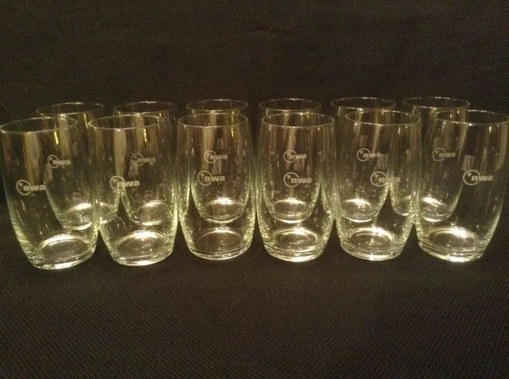 Northwest Airlines TWELVE First Class Cabin Wine Glasses with new NWA logo