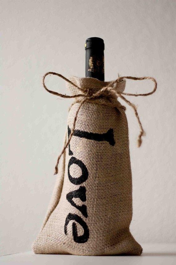Burlap Bottle Bag Love by sweetcs on Etsy