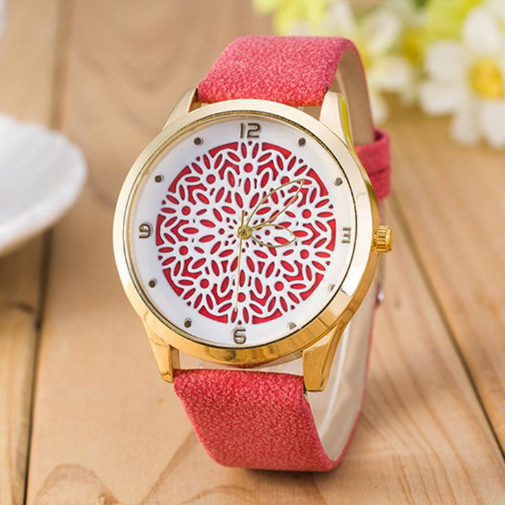 Newest Flower Printed Watches Fashion Women Analog Quartz Wristwatch Newly Design Simple Lady Dress Leather Reloj Relogio