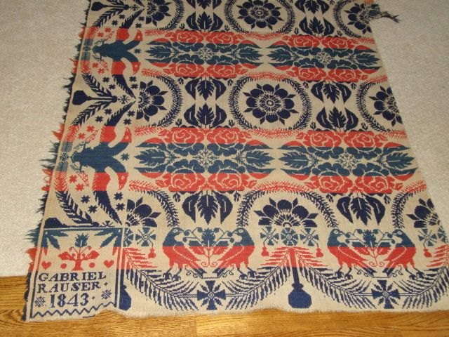Coverlet Signed By Gabriel Rauser, Weaver ~ Frankly All Of These Old  Coverlets Of This Type Are Absolutely Priceless, Because Nothing Like Them  With That ...