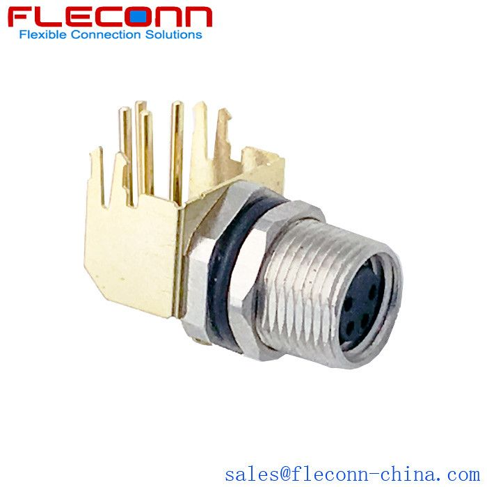 M8 4 Pin Female Right Angle Shielded Connector Rear Panel Mounting Pcb Dip Solder Connectors Mounting Connector