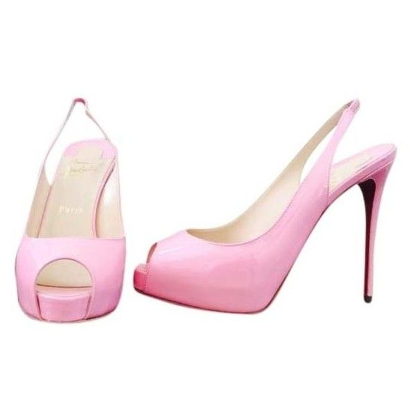 Pre-Owned  Christian Louboutin Women's Pumps found on Polyvore featuring shoes, pumps, pink, breast pump, pink shoes, pre owned shoes, pink pumps and christian louboutin shoes