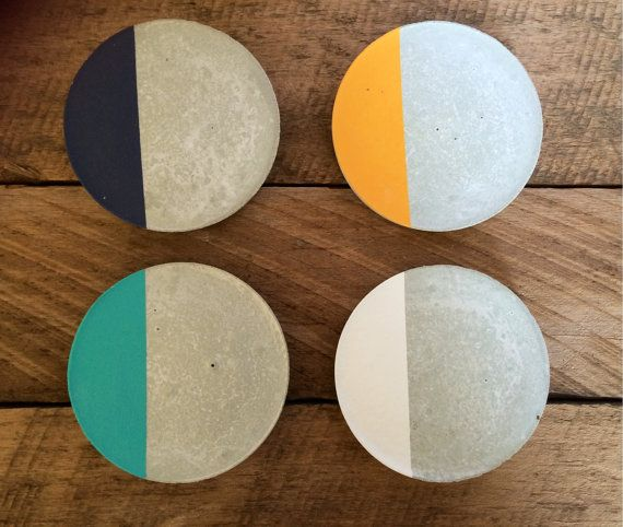 Concrete/ cement coaster (set of 4) Coasters are sealed for protection. Cork pads on the bottom. Custom orders are welcome so please contact me