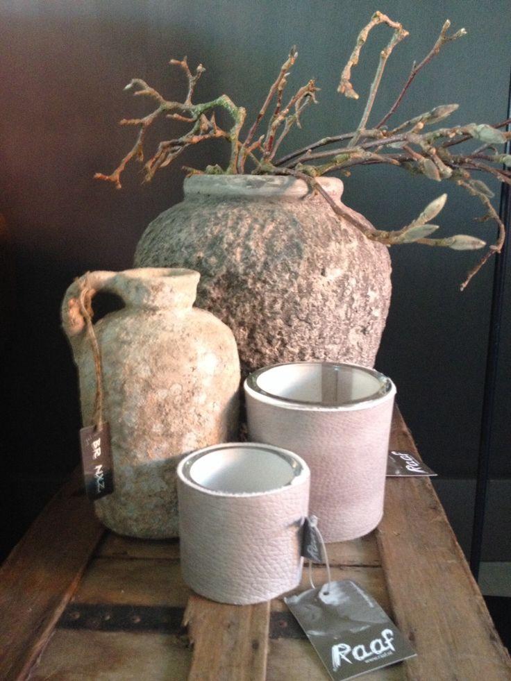 Raaf windlichten & brynxz bottle earth / majestic stone pot