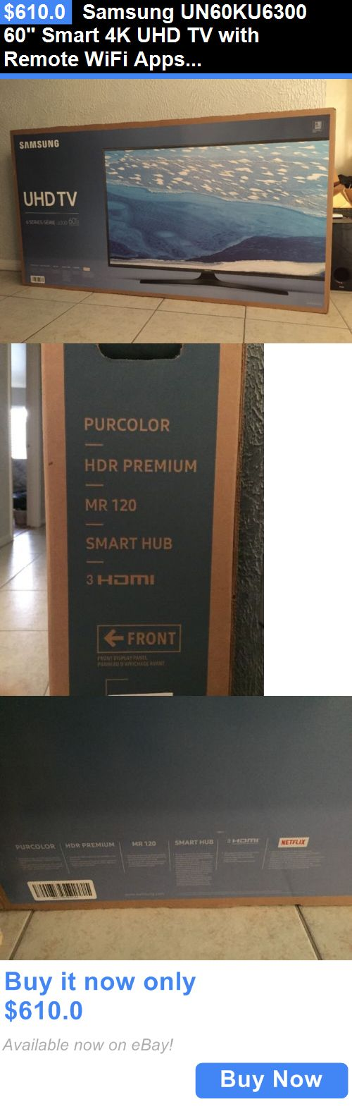 Smart TV: Samsung Un60ku6300 60 Smart 4K Uhd Tv With Remote Wifi Apps Hdmi Usb BUY IT NOW ONLY: $610.0