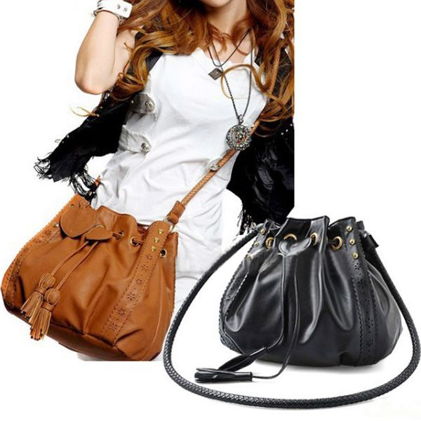 Zanzea® PU Leather Bucket Handbag Crossbody Bag