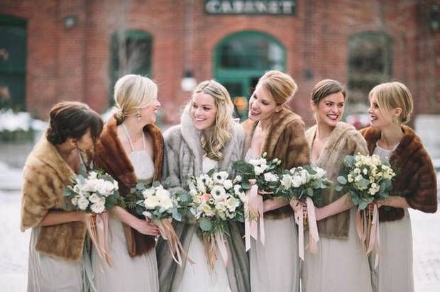 winter wedding ideas fur coats on bridesmaids