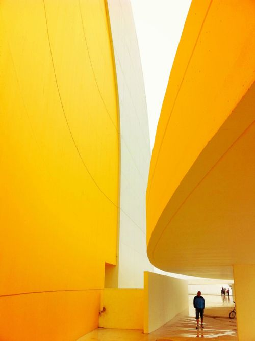 Niemeyer Center, Avilés, Asturias, Spain.: Interior, Asturias, Color, Yellow Curves, Architecture, Space, Oscar Niemeyer, Spain, Niemeyer Center