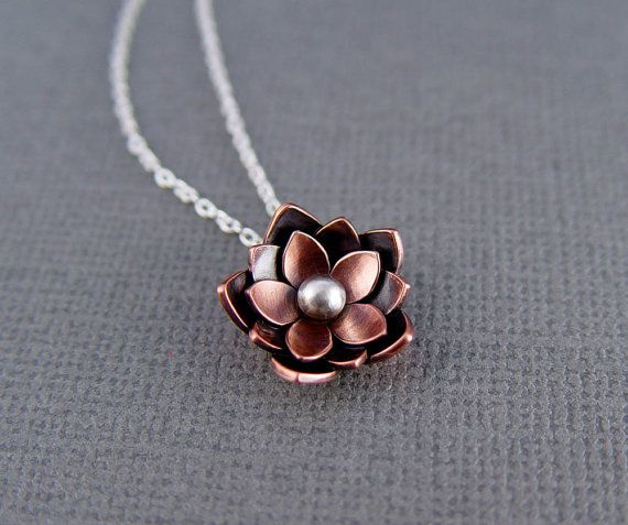 RESERVE for Honor - Copper Lotus Necklace - Chinese New Year, Rebirth, Lotus Flower, Gifts For her, Mothers day gifts, Yoga jewelry