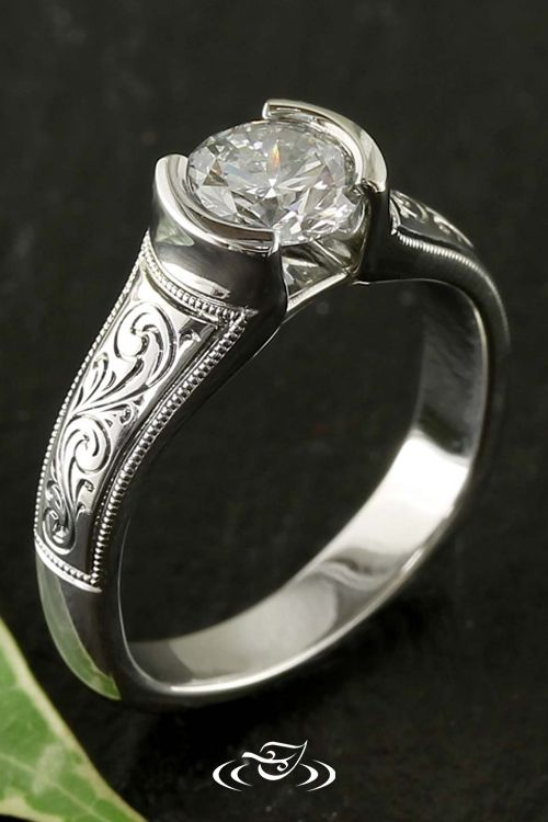 Half Bezel Diamond Ring with Scroll Engraving