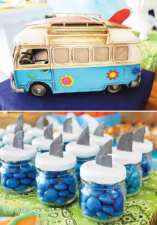 Love these simple shark fin topped candy jars