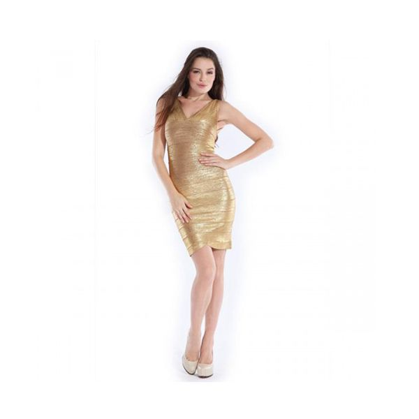 Herve Leger Couture Dress in Gold