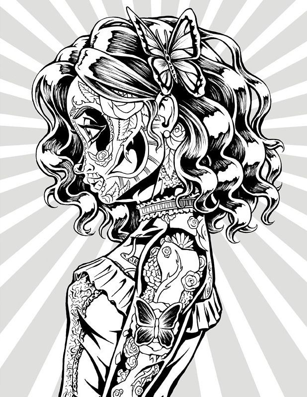 Day of the Dead Coloring Book - Coloring Page | Skull ...