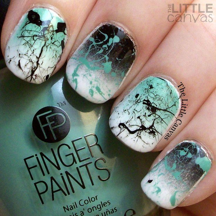 Gradient & splatter Nail art using FingerPaints: Paper Mache, FingerPaints: Patent Black, and  FingerPaints: The Mural of the Story