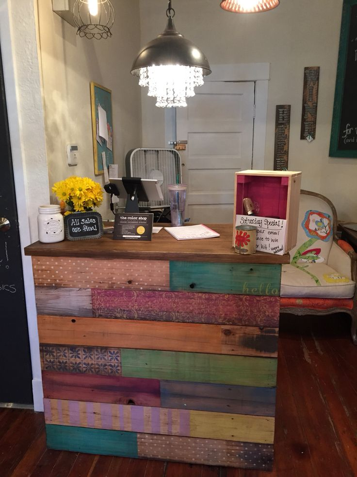 IKEA hack - from pine coffee table to awesome Chalk Paint ® painted payment stand at The Color Shop (@thecolorshoppdx) in Portland, Oregon.   #chalkpaint #anniesloan #thecolorshop