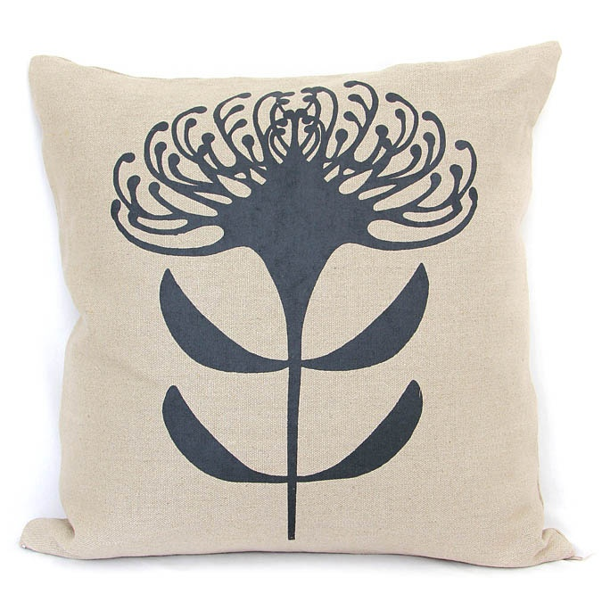 Pincushion Print in Charcoal on 100% textured linen cushion