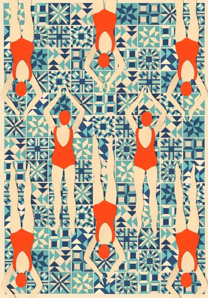 Limited Edition Giclee print taken from a papercut #papercut #synchro #swimmers #pattern #tiles #mosaic