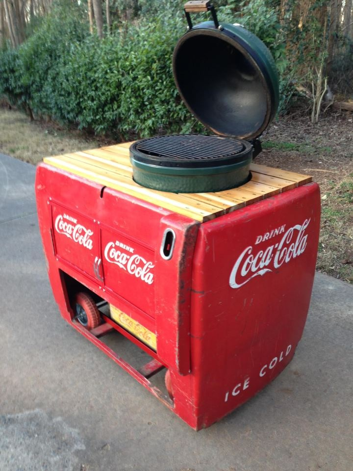 Big Green Egg table made from a vintage Coca-Cola cooler.  Got to Love Retro! #myhttender