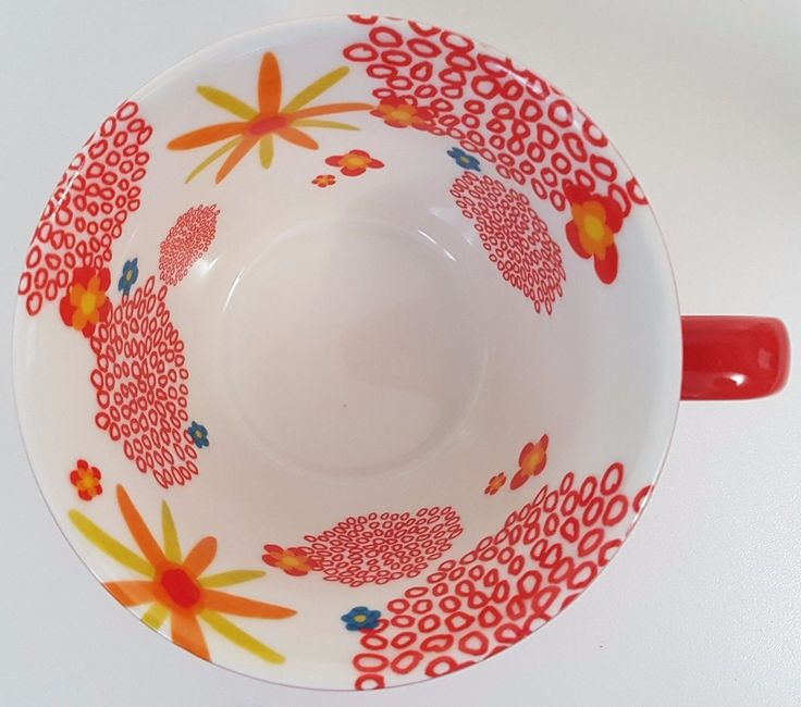 Starbucks Red Ribbed Coffee Mug Cup w/ Flowers Floral Inside 2007 12 oz | eBay